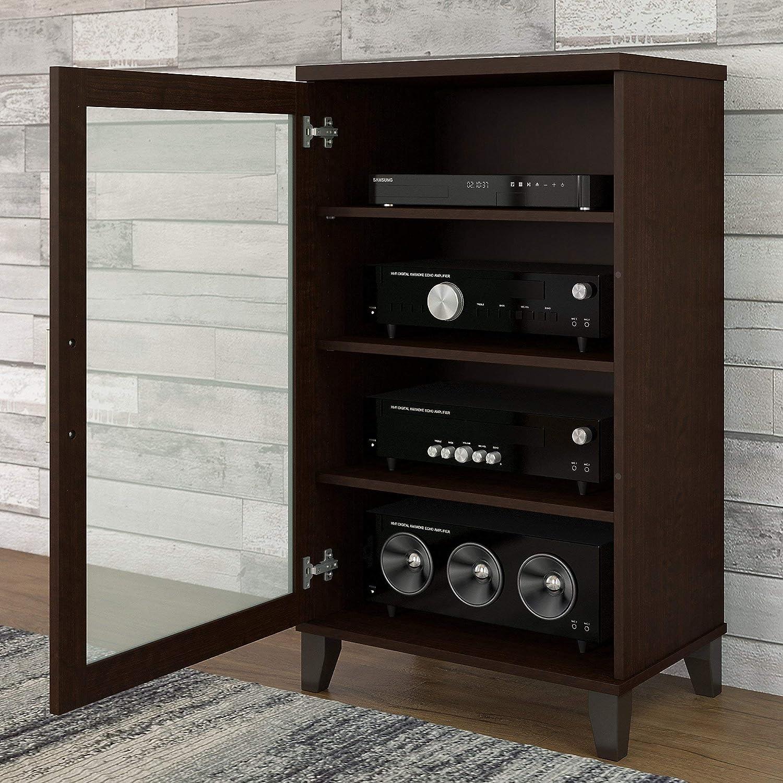 Amazon Bush Furniture Somerset Media Cabinet in Mocha Cherry Kitchen & Dining