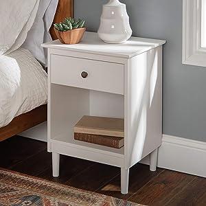 Walker Edison Traditional Wood 1 Nightstand Side Bedroom Storage Drawer and Shelf Bedside End Table, White