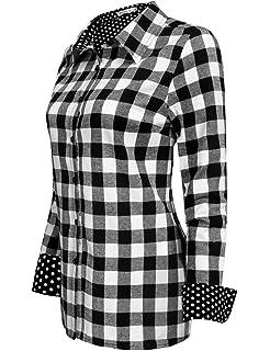 2642eca9a71 Jingjing1 Women Plaid Shirt, Ladies Casual Roll Up Sleeve Button Down  Boyfriend Shirt