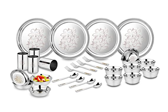 Classic Essentials Stainless Steel Glory Dinner Set, 28 Pieces, Silver Dinnerware Sets