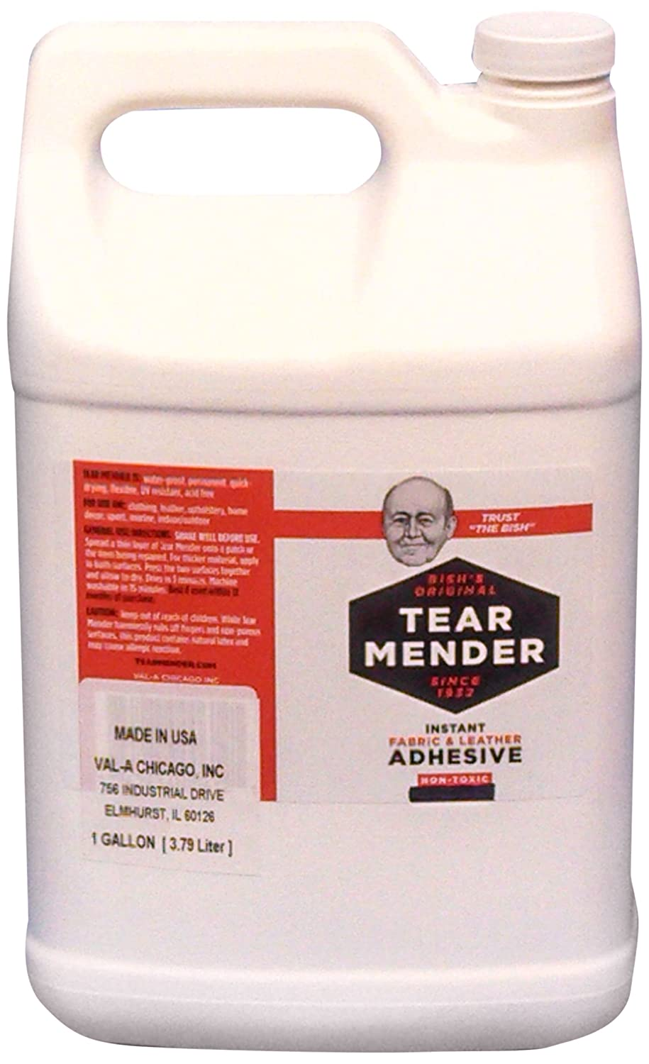 Tear Mender Instant Fabric and Leather Adhesive Glue, 1 Gallon, TG-128