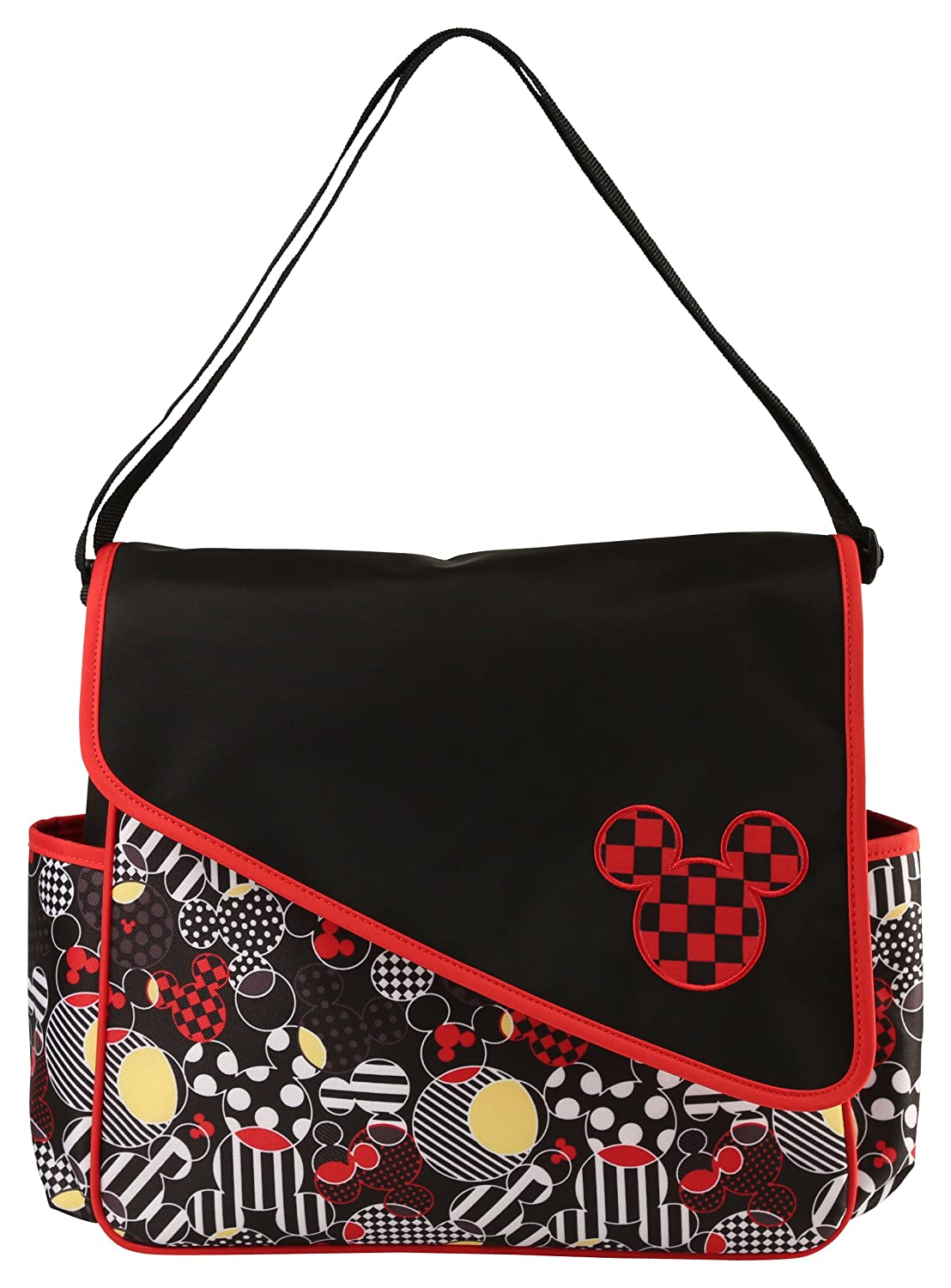 Amazon.com : Disney Mickey Mouse Diaper Bag with Asymetrical Flap, Toss Heads Print : Baby