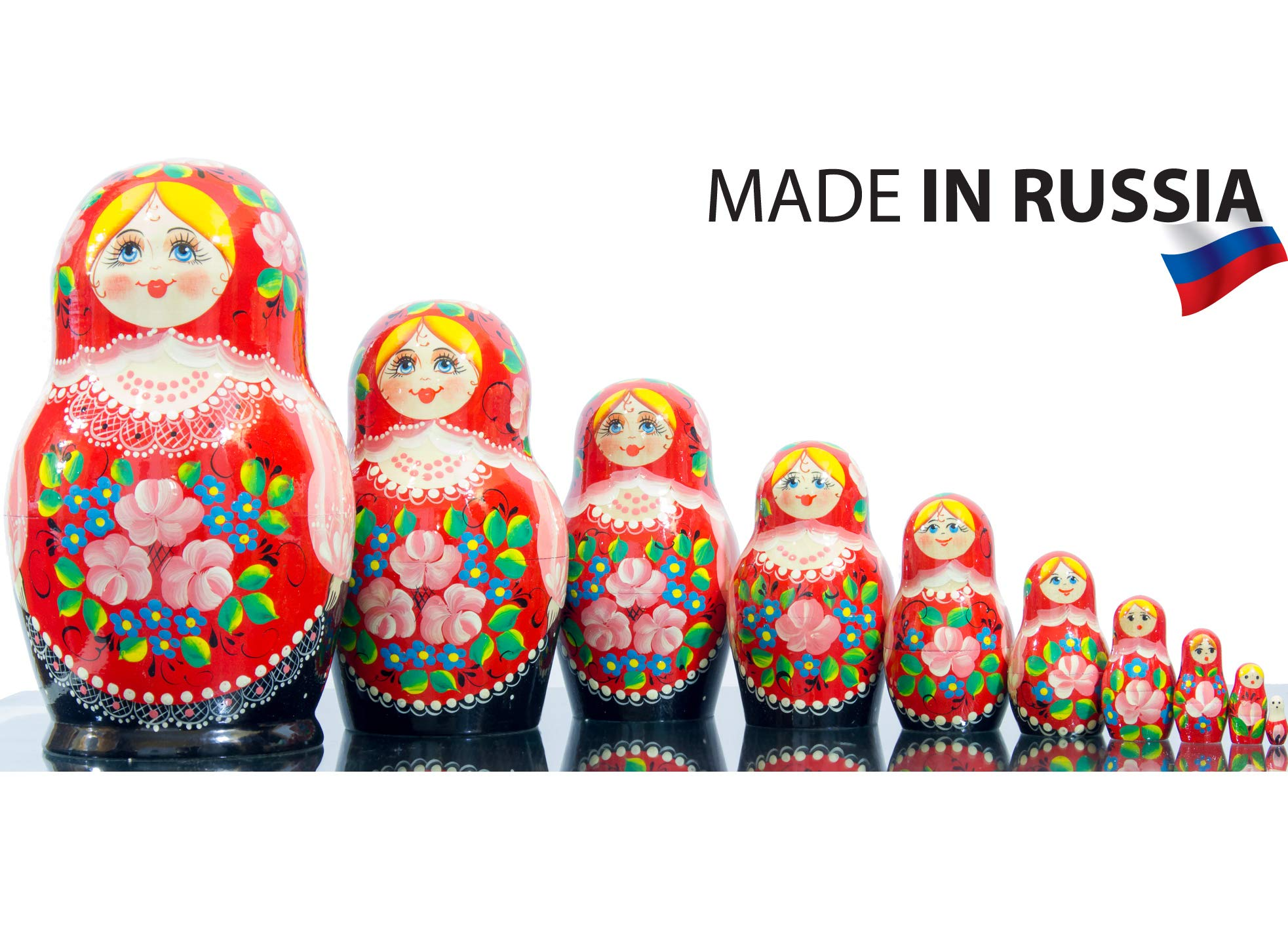 Russian Nesting Doll - Kirov - VJATKA - Hand Painted in Russia - Big Size - Wooden Decoration Gift Doll - Matryoshka Babushka (Style B, 8.25``(10 Dolls in 1)) by craftsfromrussia (Image #1)