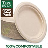 Stack Man Plates [125-Pack] Heavy-Duty Quality Natural Disposable Bagasse, Eco-Friendly Made of Sugar Cane Fibers, 7…