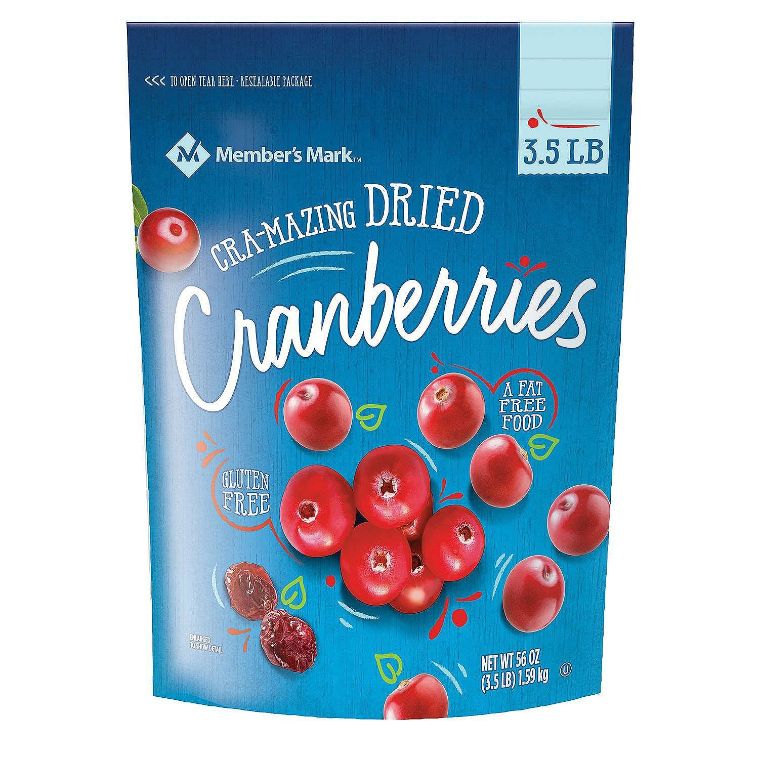 Members Mark Dried Natural Cranberries, 3.5 Pound