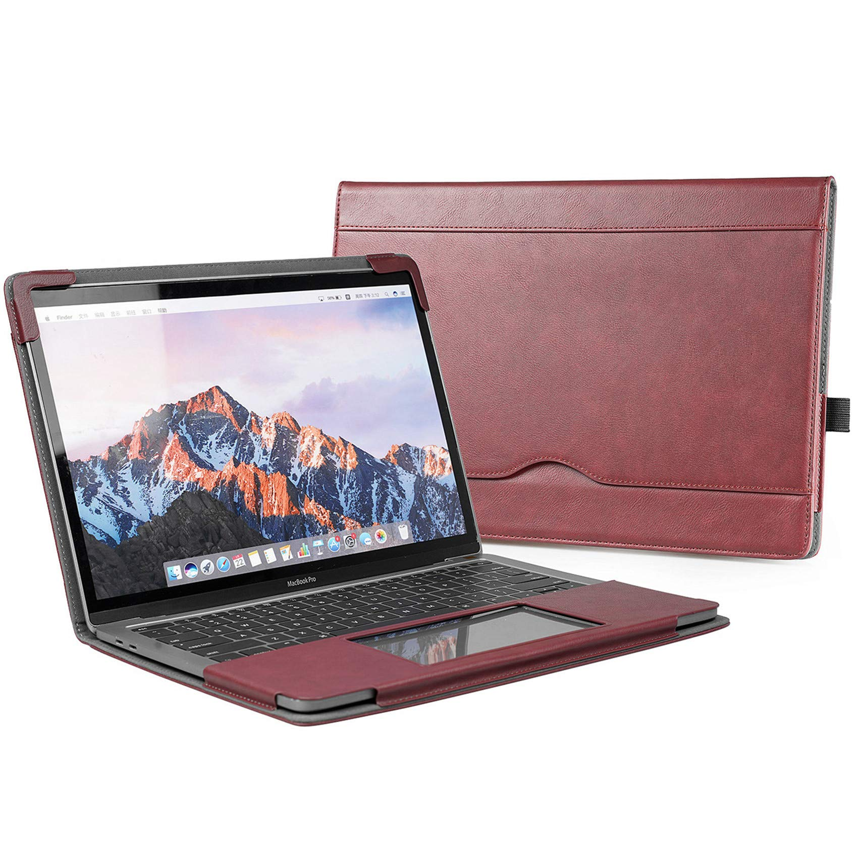 """TYTX Compatible with MacBook Pro Leather Case 13 Inch 2016-2020 (A1989 A1706 A1708 A2159 A2289 A2251 A2338) Laptop Sleeve Protective Folio Book Cover (New MacBook Pro 13"""", Wine Red)"""