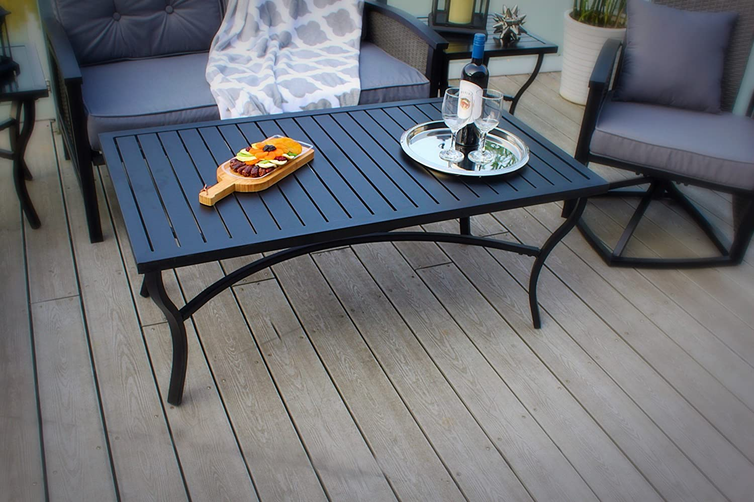 Pebble Lane Living Weather Resistant Powder-Coated Aluminum Slat Top Rectangle Patio Coffee Table – Black