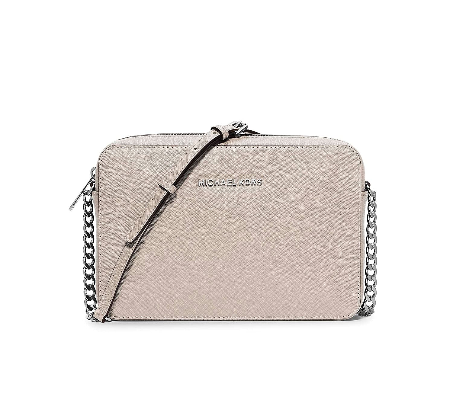 dc58e2d0b8 Borsa a tracolla Michael Kors Jet Set in pelle saffiano grigio cemento:  Amazon.co.uk: Shoes & Bags