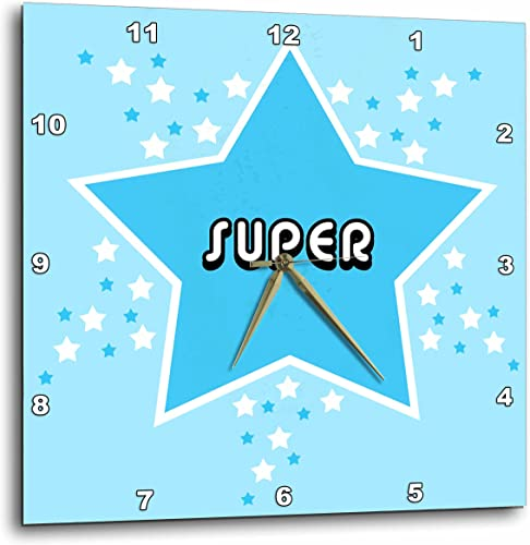 3dRose DPP_6171_1 Wall Clock, Blue Super Star Design, 10 by 10-Inch