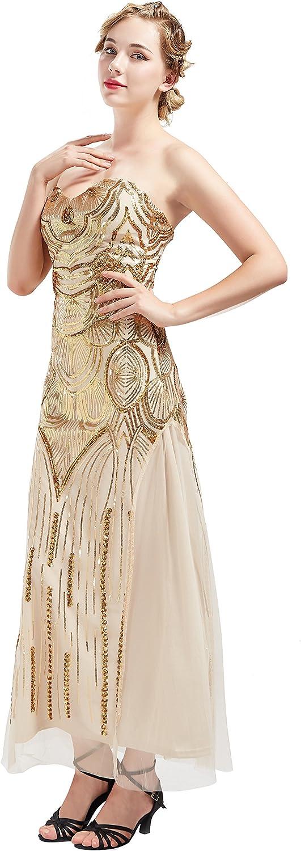 ArtiDeco 12er Jahre Flapper Kleid Damen Cocktailkleid 1912s Vintage  Abendkleid Maxi Lang Bustier Damen Gatsby Kostüm Kleid