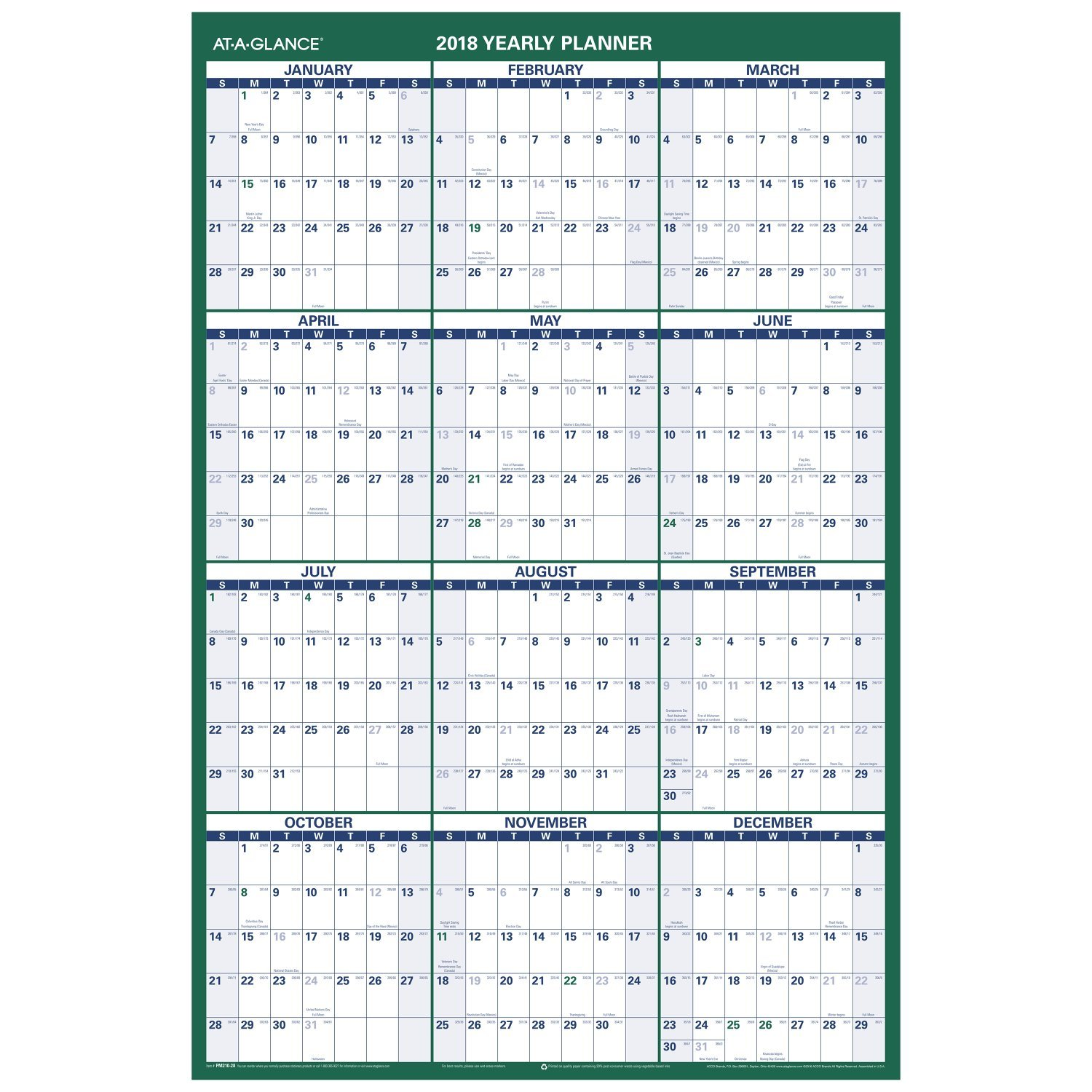 AT-A-GLANCE calendario de pared vertical, vertical, vertical, 24