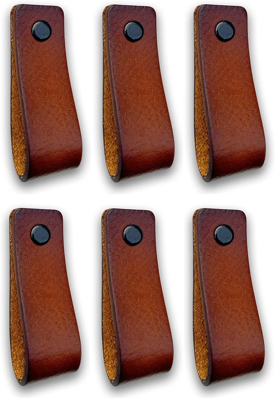 Tiradores de Cuero   Coñac / 6 piezas   16,5 x 2,5 cm   Piel de Granos   3 tornillos de color - tiradores para Accesorio de Mobilario, armario, cajón, puerta