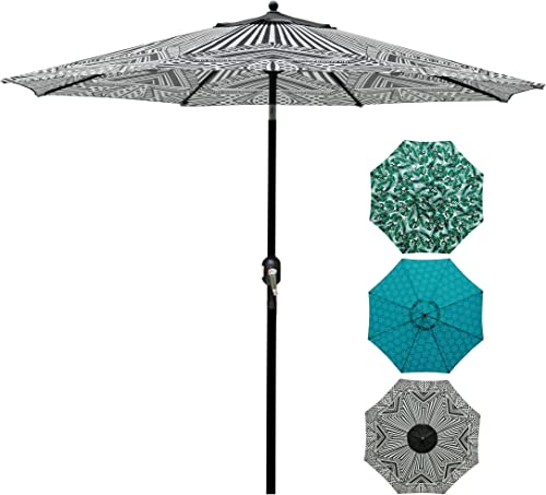 Blissun 9' Patio Umbrella Aluminum Manual Push Button Tilt and Crank Garden Parasol