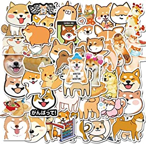 Minoly Shiba Inu Dogs Stickers for Water Bottles, Laptop - 50 PCS Cute Dogs Pets Waterproof Kids Stickers for Hydro Flask, Skateboard, Helmet, Phone, Suitcase
