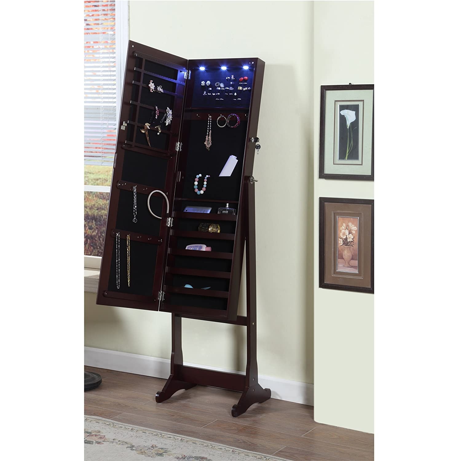 Amazon.com: Artiva USA   Espresso Wood Finish U2013 Free Standing Cheval Mirror  And Jewelry Armoire Display With LED Light And Key Lock U2013 Beautiful U0026  Functional ...