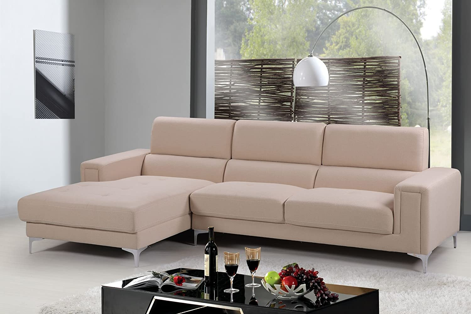 Amazon com container furniture direct sydney collection mid century upholstered linen fabric sectional sofa left facing chaise cream beige kitchen