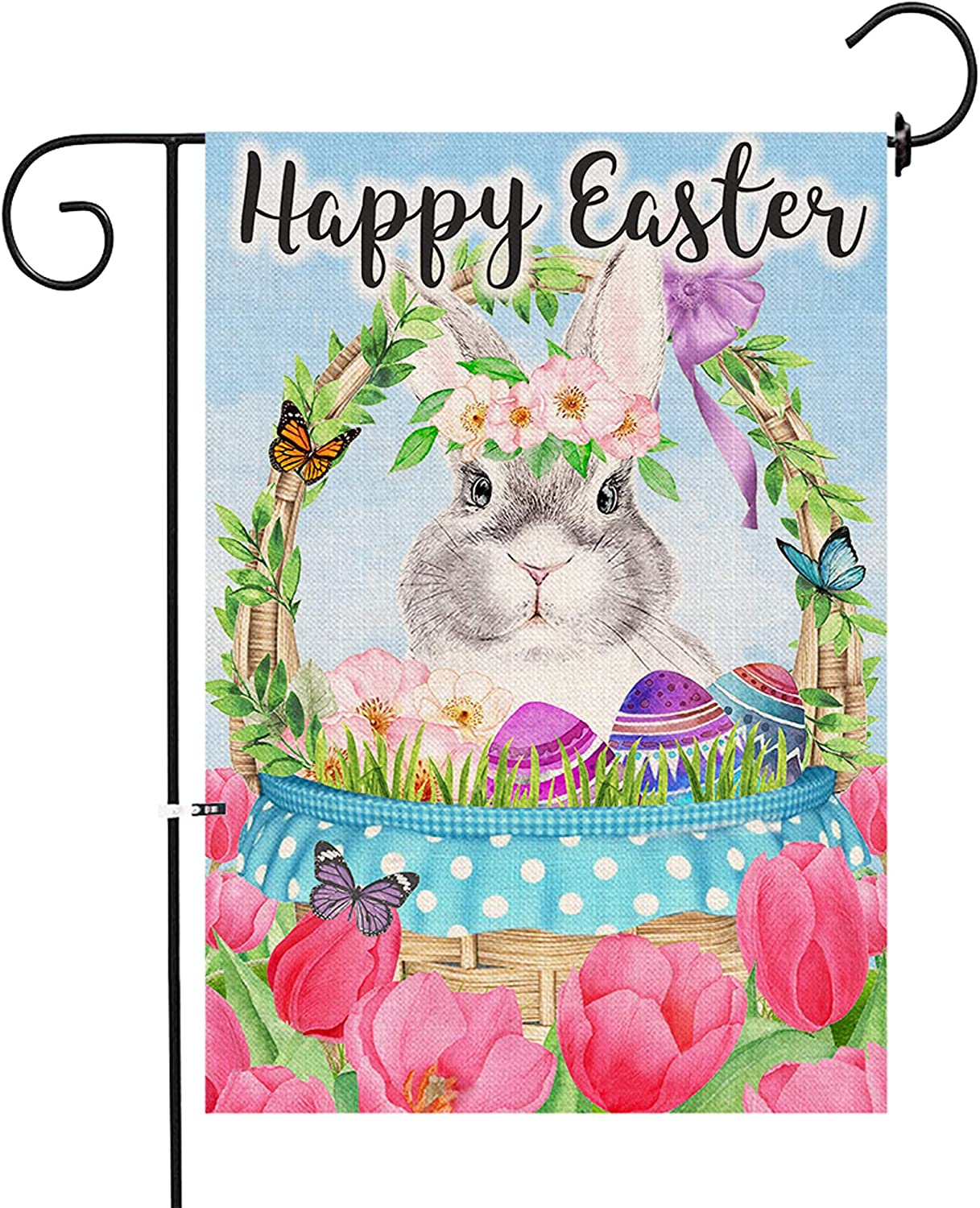 pinata Easter Garden Flag 12 x 18 Double Sided, Holiday Happy Easter Decorations for Home Small Spring Yard Flags Burlap Outside Banner Outdoor House Seasonal Bunny Eggs Rabbit Tulip Decorative Sign