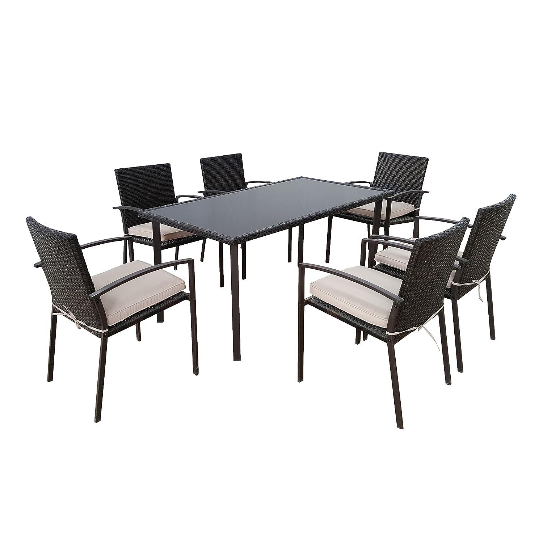 Amazon.de: Sitzgruppe Gartenmöbel-Set aus schwarzem Polyrattan ...