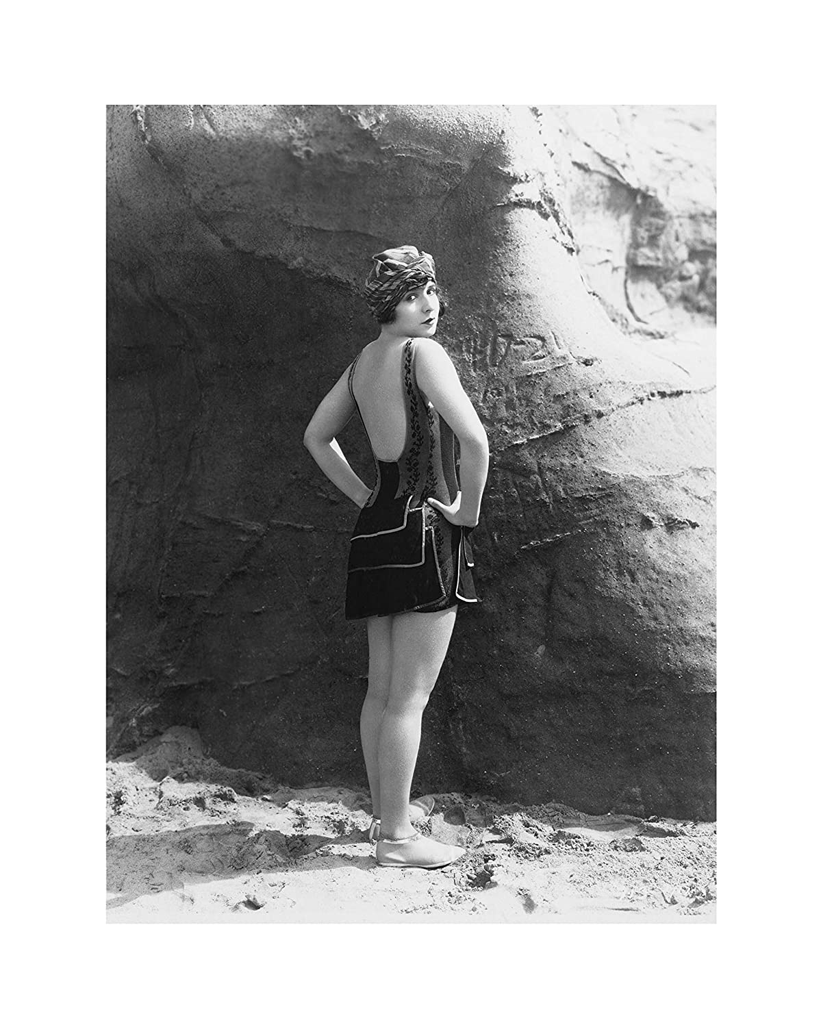 Amazon com early 1900s retro beach babe in a bathing suit vintage black and white photography unframed posters prints