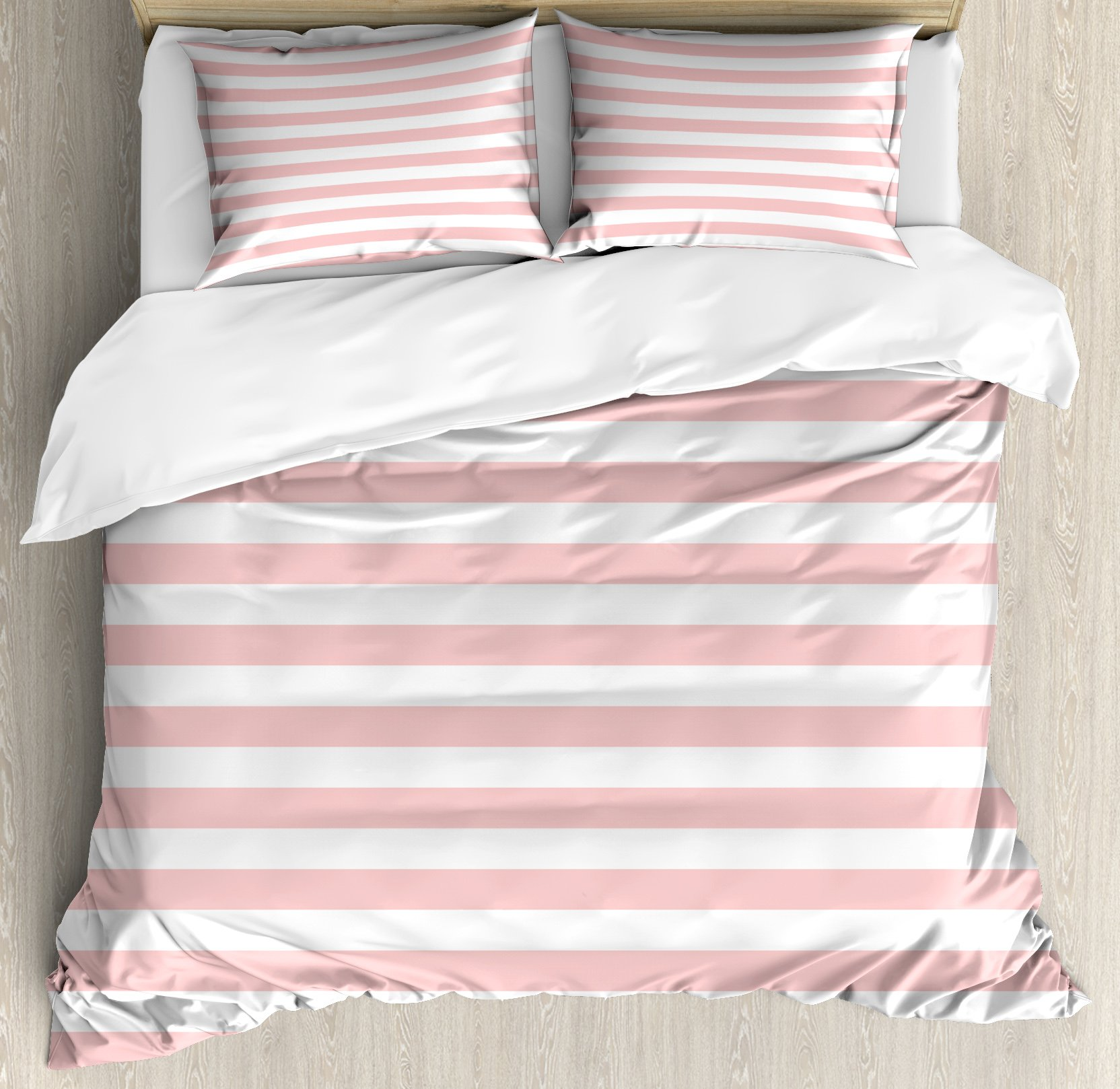Lunarable Blush Duvet Cover Set Queen Size, Retro Style Pastel Colored Pink Stripes on White Background Vintage Geometric Design, Decorative 3 Piece Bedding Set with 2 Pillow Shams, Rose White