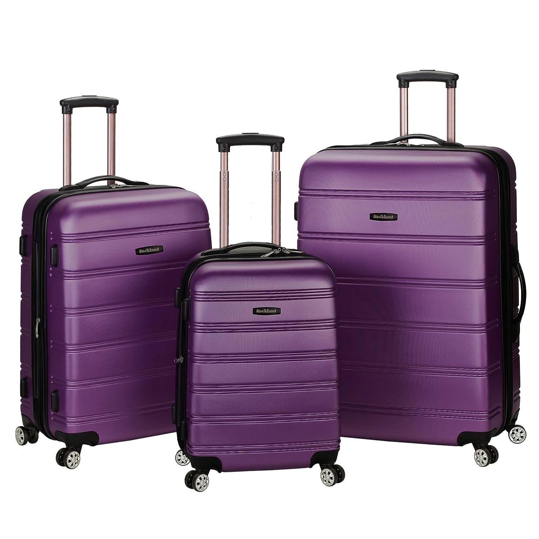 54692f51f Amazon.com   Rockland Melbourne 3 Pc Abs Luggage Set, Purple   Luggage Sets