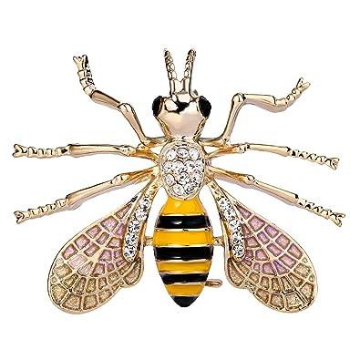 TENYE Women's Austrian Crystal Enamel Lovely Honeybee Insect Animal Brooch Clear Silver-Tone z1R33
