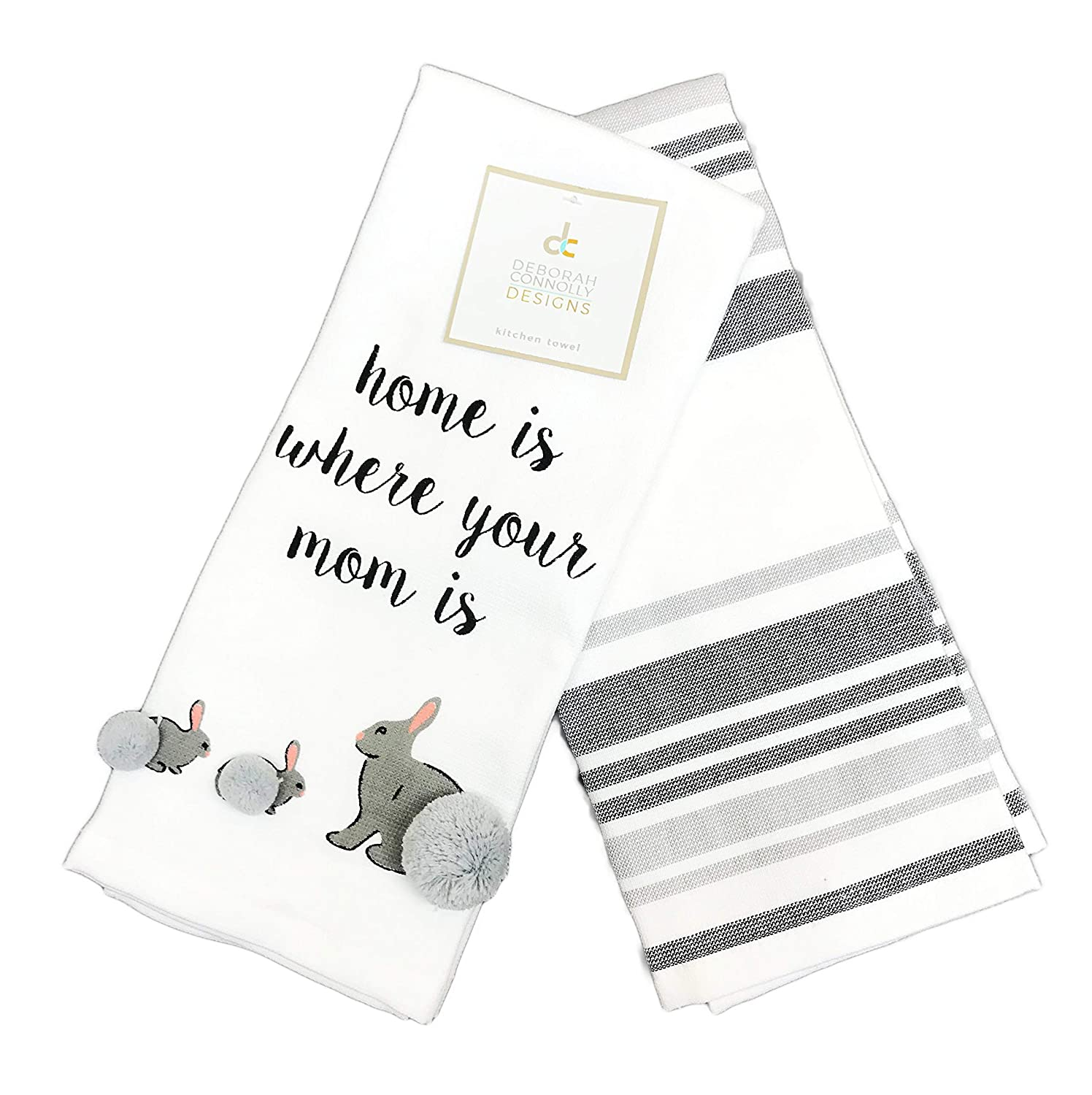 Grey Bunny Rabbit Home is Where Your Mom is Cute Set of Two Decorative Pom Pom Embellished Easter Spring Kitchen Hand Towels