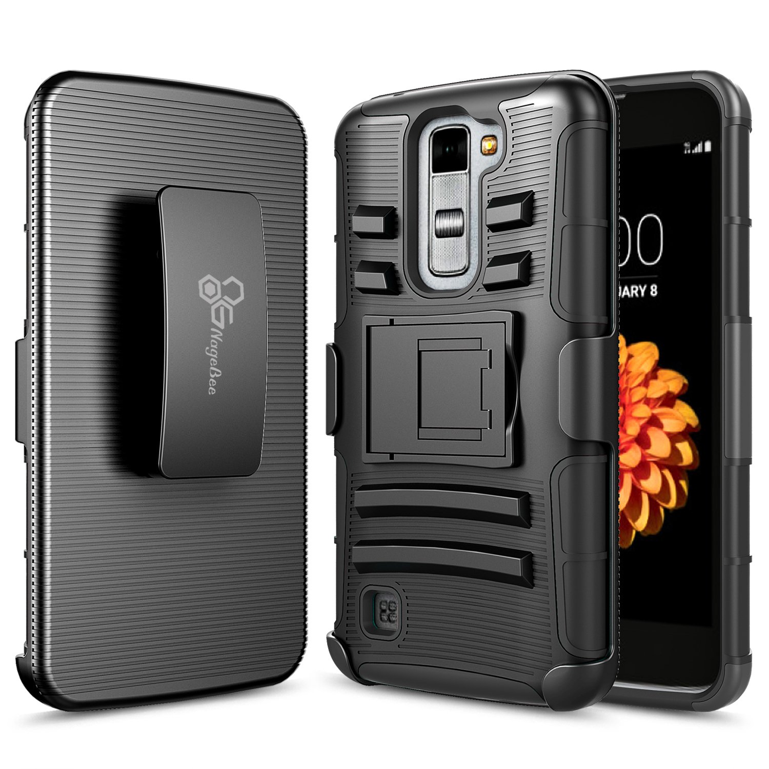 Lg K10 Case, Lg Premier Lte L62 Vl L61 Al Case, Nage Bee [Heavy Duty] Armor Shock Proof Dual Layer [Swivel Belt Clip] Holster With [Kickstand] Combo Rugged Case   Black by Nage Bee