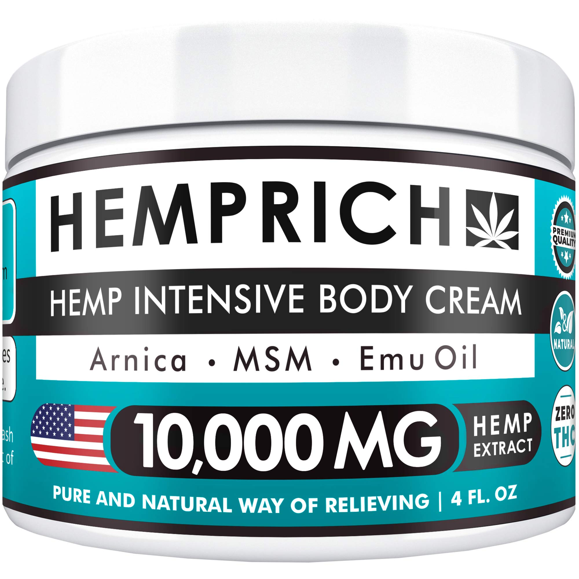 Hemp Cream 10,000mg | 4oz - Made in USA - Back, Neck, Knee Pain Relief - Natural Hemp Oil Cream - Anti Inflammatory - Fast Sore Muscle & Joint Relief - Arnica, MSM, EMU Oil & Glucosamine - Non-GMO by Hemprich
