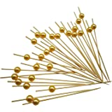 """PuTwo Cocktail Picks Handmade Bamboo Appetizer Toothpicks 100 Counts 4.7"""" Yellow Pearls"""