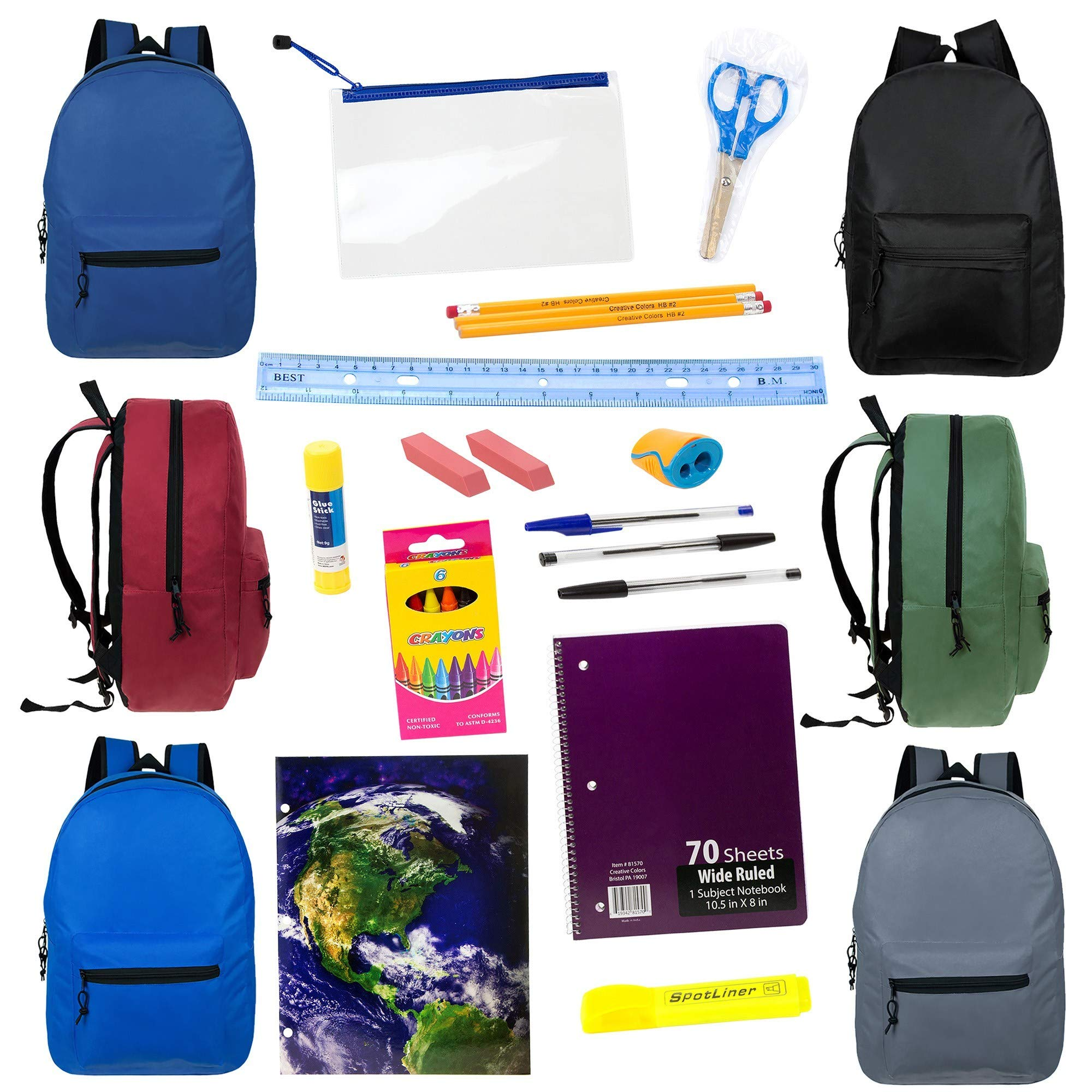 15'' Wholesale Backpacks in 6 Assorted Colors with 16 Piece School Supply Kit - Bulk Case of 24