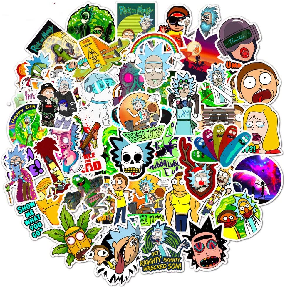 Qucuek Rick and Morty Stickers for Hydro Flask, | 50 PCS | Vinyl Waterproof Stickers for Laptop,Water Bottles,Computer,Phone,Notebook Cute Anime Stickers (Rick and Morty)