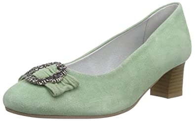 ROSI - Zapatos de Tacón Cerrados de Cuero Mujer, Color Verde, Talla 41 Bergheimer Trachtenschuhe