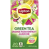 Lipton Green Tea Bags Flavored with Other Natural Flavors Orange Passionfruit Jasmine Can Help Support a Healthy Heart 1.13 oz 20 Count