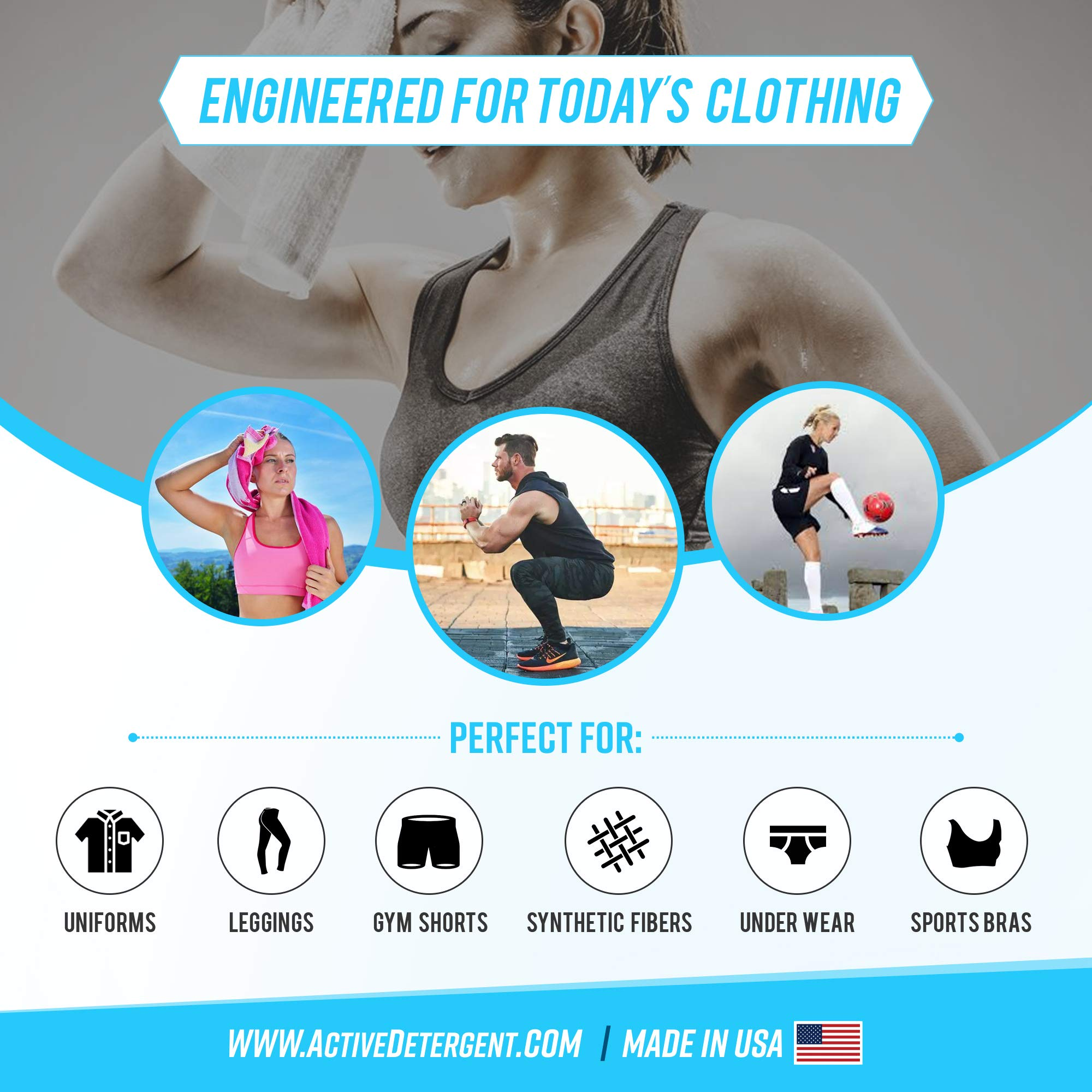 Active Wear Laundry Detergent - Formulated for Sweat and Workout Clothes - Natural Performance Sport-Wash Concentrate - Enzyme Booster Deodorizer - Powder Wash for Activewear Gym Apparel (90 Loads) by   ACTIVE Wear Detergent    (Image #4)