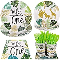 Jungle Safari Wild One Animal Party Supplies - Serves 16 Guest Includes Party Plates, Knife, Fork, Spoon, Cups, Napkins…