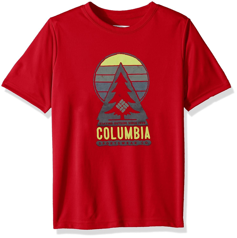 Ni/ño Columbia Always Outside Short Sleeve Shirt Camiseta de Manga Corta M Bright Red Tree Graphic Rojo