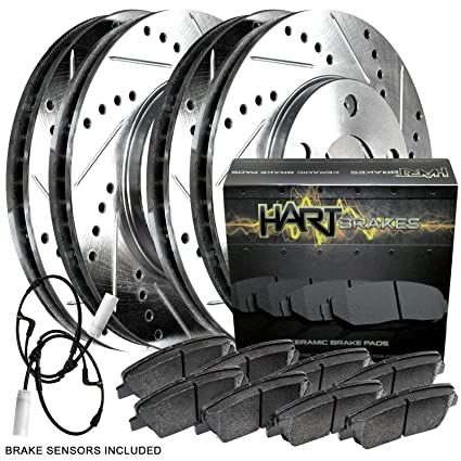 FRONT BLACK HART DRILLED SLOTTED BRAKE ROTORS /& PADS Toyota AVALON 2000-2004