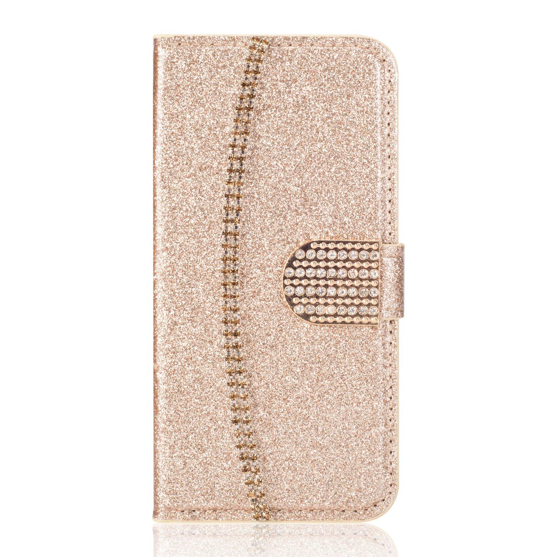 Girlyard Custodia per Huawei P10 Brillantini Bling Cover Glitter Crystal Diamante Flip Portafoglio in Pelle a Libro Chiusura Magnetica Supporto Wallet Case per Huawei P10 Argento