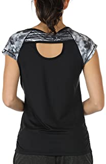 baf47401e5 icyzone Workout Running Shirts for Women - Fitness Gym Yoga Exercise Short  Sleeve T Shirts Open