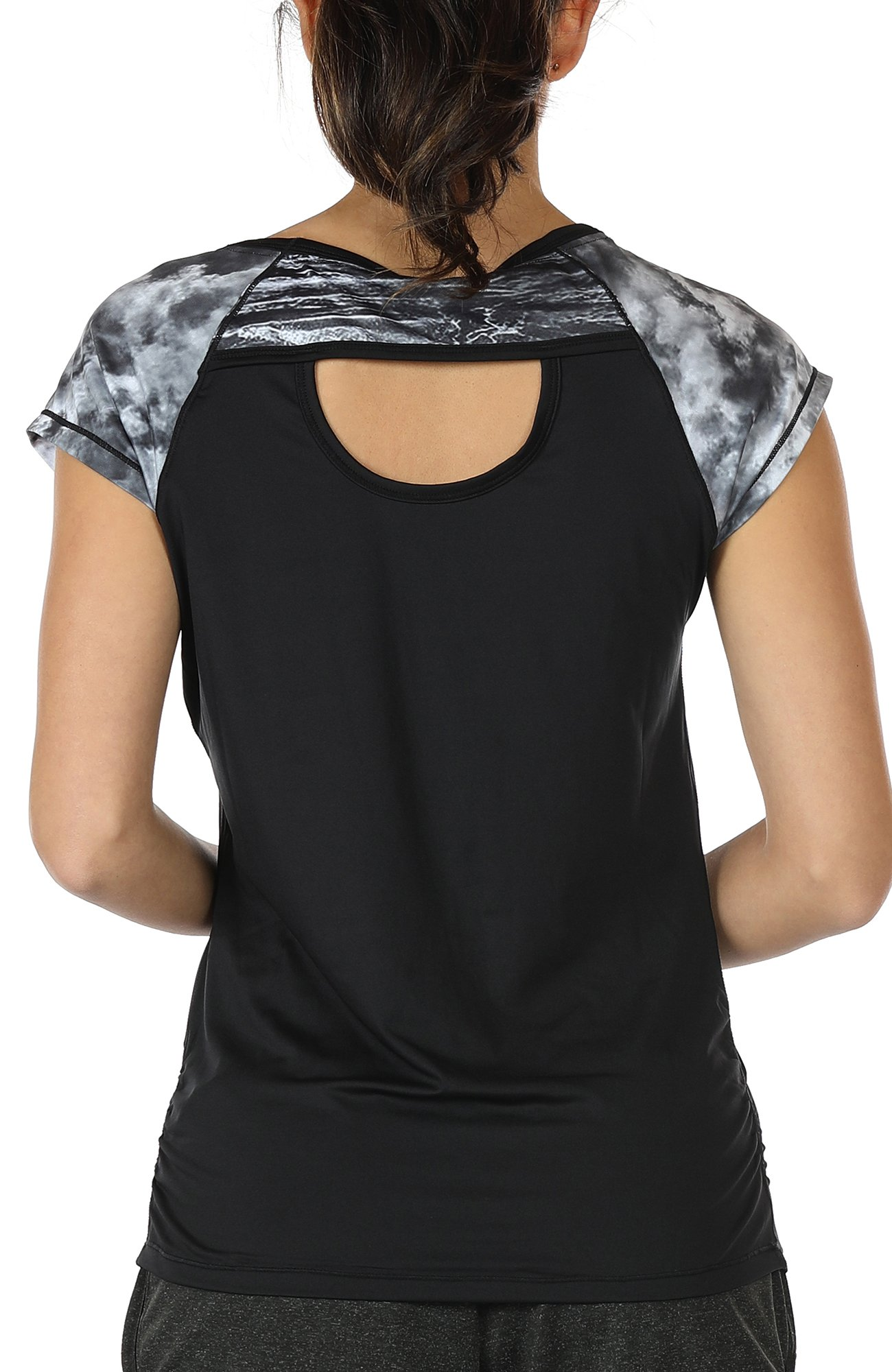 icyzone Workout Running Shirts for Women - Fitness Gym Yoga Exercise Short Sleeve T Shirts Open Back Tops (L, Storm/Black)