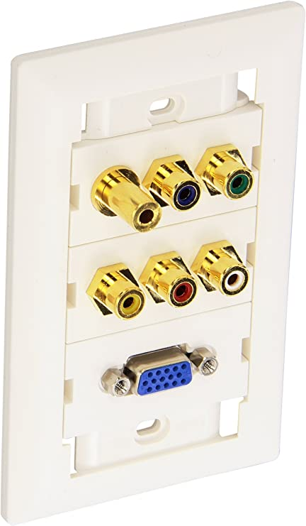 Monoprice 104569 VGA Stereo Audio Wall Plate Gold Plated, 3.5mm