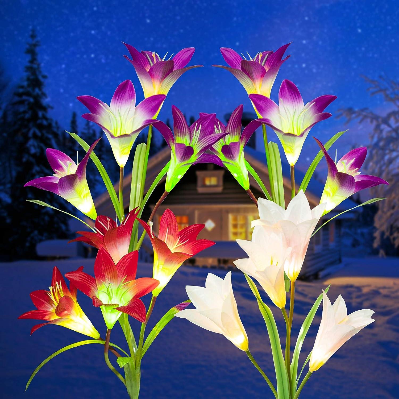 GIGALUMI Solar Flower Lights Outdoor, 4 Pack Garden Decorative Lights, 16 Solar Lily Flower, Multi-Color Changing LED Solar Landscape Light for Patio, Yard, Garden (2 Purple, Red & White)