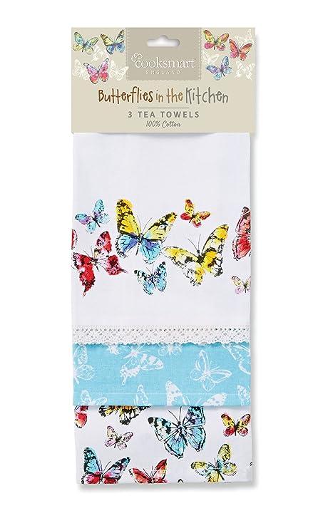 Beau Cooksmart Butterfly Tea Towels, Cotton, Multi Colour, Pack Of 3
