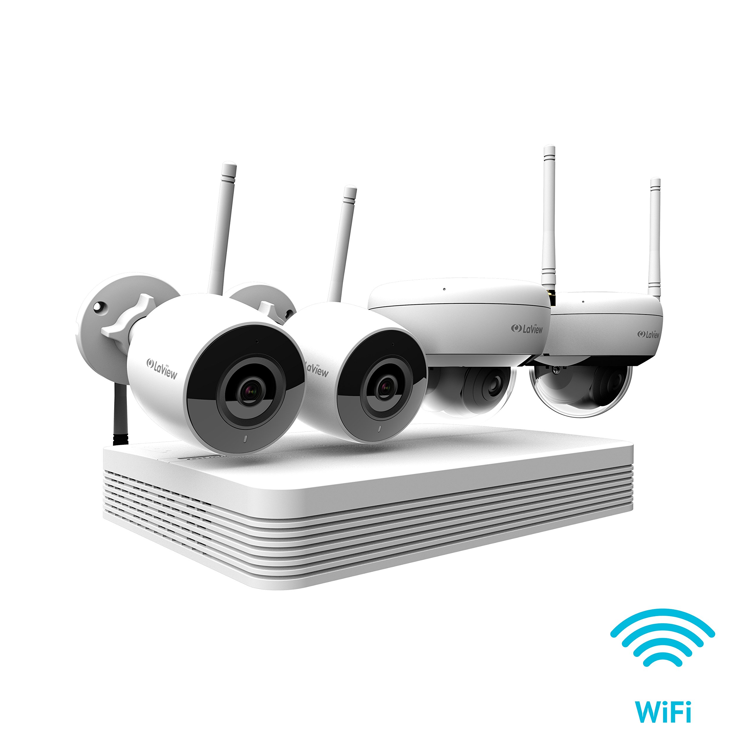 LaView Wi-Fi Wireless Security Camera System 8 Channel 1080P HD Audio & Video H.265 NVR 2TB, 2xbullet & 2X Dome Indoor/Outdoor Wi-Fi Camera,500Ft WiFi Range,Mobile Alerts