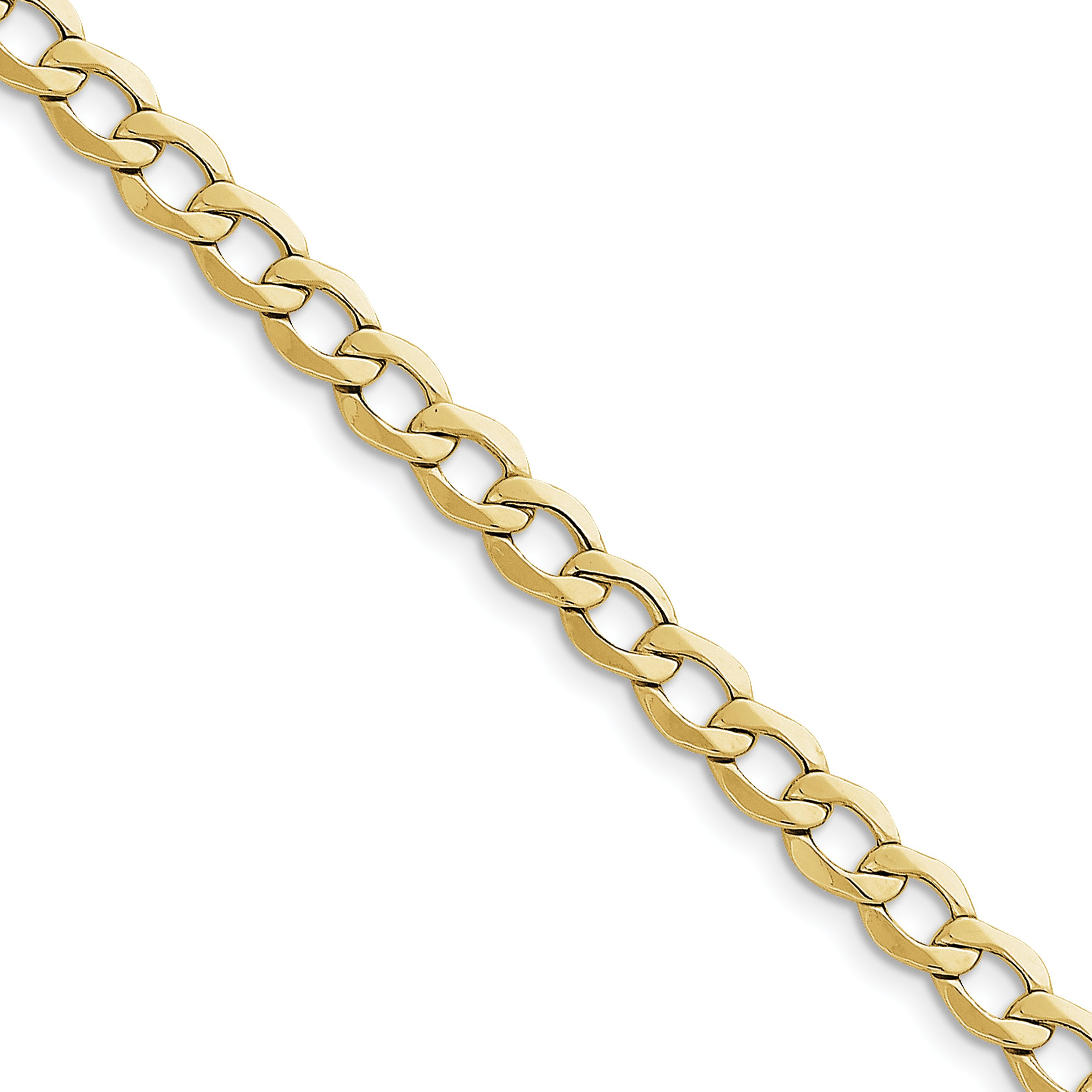 ICE CARATS 10k Yellow Gold 7mm Curb Cuban Link Chain Anklet Ankle Beach Bracelet 9 Inch Fine Jewelry Gift Set For Women Heart