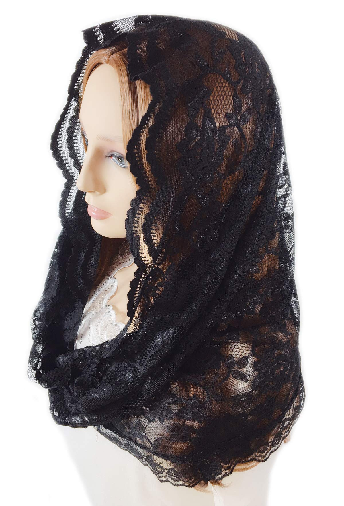 Pamor Infinity Floral Veils Scarf Catholic Church Veil Head Covering Latin Mass Lace Mantilla with Free Hairclip (black) by PAMOR (Image #2)