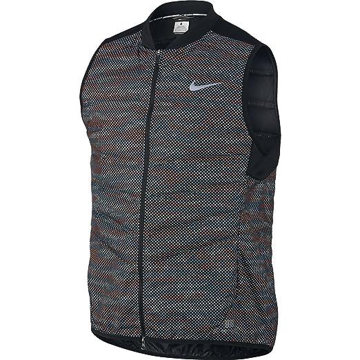 Nike Mens Aeroloft Flash Running Vest (Medium, Black/Reflective Silver)