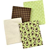 Carter's 4 Piece Flannel Receiving Blankets, Monkeys/Brown/Green/White