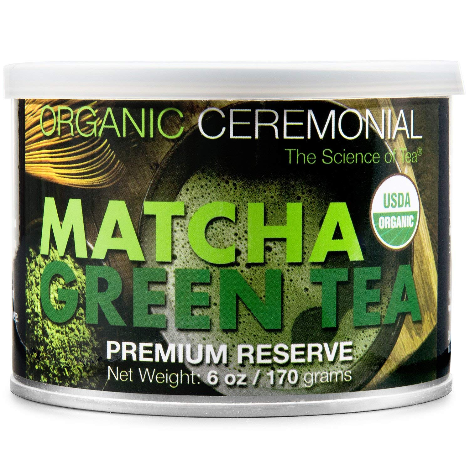 MatchaDNA Certified Organic Ceremonial Grade Matcha Green Tea Powder, TIN CAN (6 Ounce)